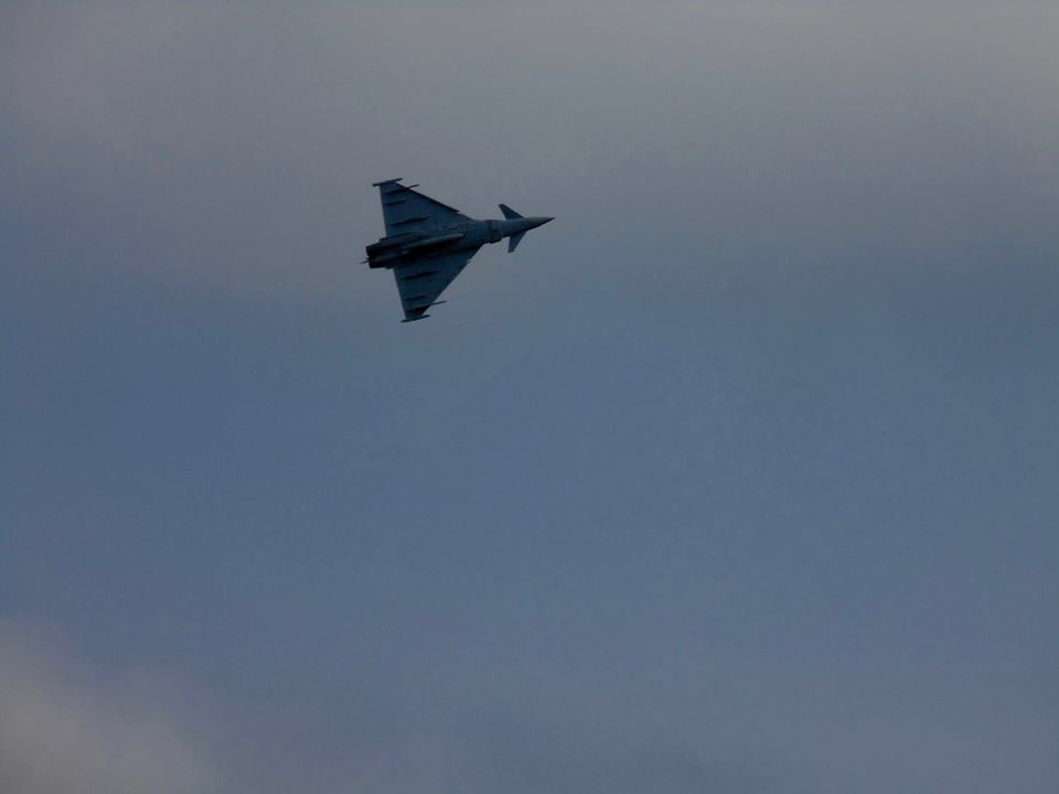 Eurofighter Typhoon FGR4. highly manoeuvrable and with a top speed of Mach 2+, This aircraft is simply amazing to watch. It's so fast I'm surprised I even managed to get a picture of it! I put it down to pure luck!