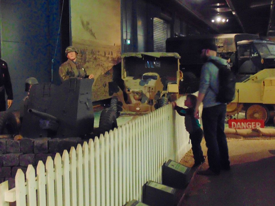 Liam and Dexter exploring the Land Warfare exhibit