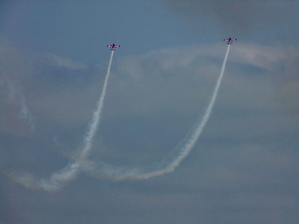 Red Bull Duo creating smoke trails.