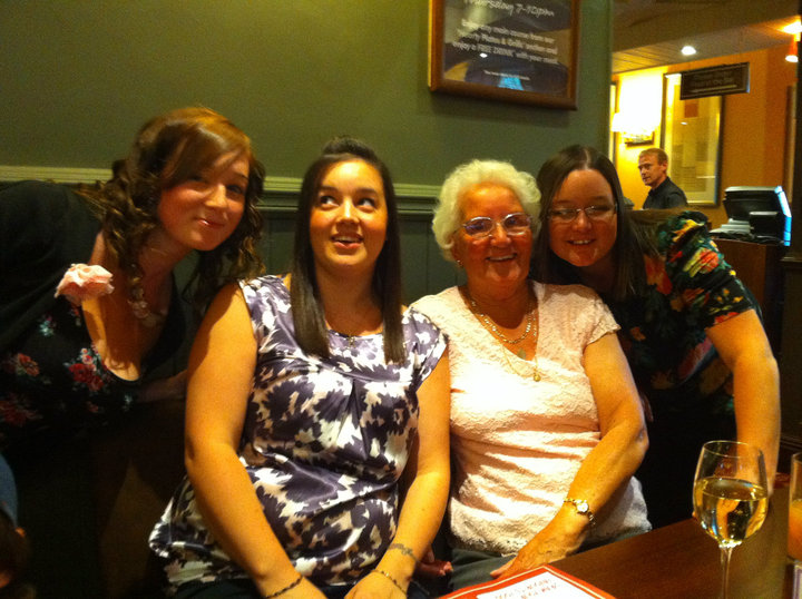 L-R: Sarah, Kay, my Nan & Me at my Mum's birthday meal. The last family 'occasion' with Kay
